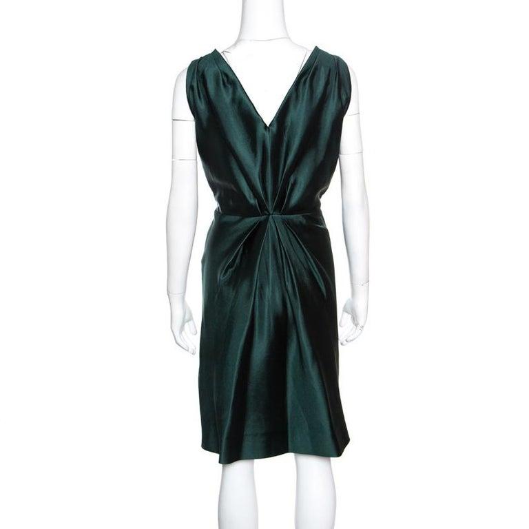 Black Alberta Ferretti Green Crystal Embellished Waist Detail Sleeveless Dress M For Sale
