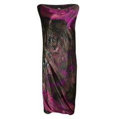 Alberta Ferretti Multicolor Printed Draped Sleeveless Dress M