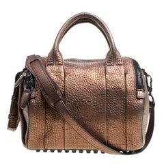 Alexander Wang Bronze Textured Leather Rocco Top Handle Bag