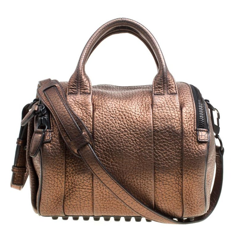 Alexander Bronze Textured Leather Rocco Top Handle Bag For