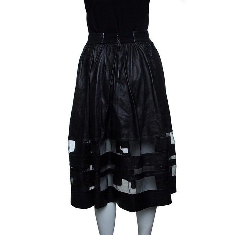 Alice Olivia Black Leather Mesh Insert Gathered Midi Skirt S For