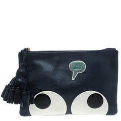 Anya Hindmarch Navy Blue Leather Georgiana Big Eyes Clutch