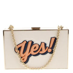 Anya Hindmarch White Leather Imperial Yes / No Box Clutch