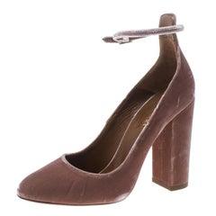 Aquazzura Beige Velvet Alix Ankle Strap Block Heel Pumps Size 37