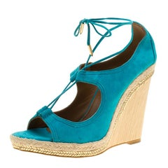 Aquazzura Turquoise Blue Suede Christie Wedge Espadrille Lace Up Open Toe Sandal