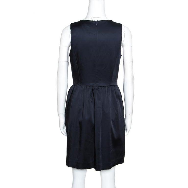 Black Armani Collezioni Navy Blue Sleeveless Sheath Dress S For Sale