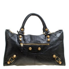 Balenciaga Black Leather GSH Work Tote