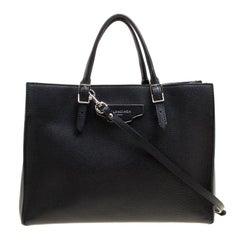 Balenciaga Black Leather Papier A6 Zip Top Handle Bag
