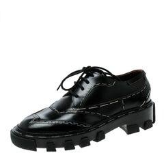 Balenciaga Black Leather Topstitch Platform Derby Size 36