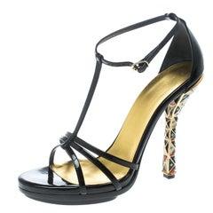 Balenciaga Black Patent Leather Ankle Strap Sandals Size 40