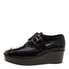Balenciaga Black Patent Leather Monk Strap Platform Loafers Size 35
