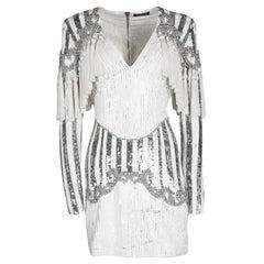Balmain White Embellished Tassel Detail Long Sleeve Dress S