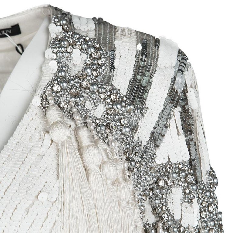 Balmain White Embellished Tassel Detail Long Sleeve Dress