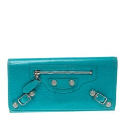 Balenciaga Blue Tropical Leather Classic Giant 12 Money Continental Wallet