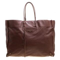 Balenciaga Brown Leather Papier A3 Tote