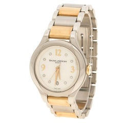 Baume & Mercier White Mother of Pearl Yellow Gold Capped Stainless Steel Women's