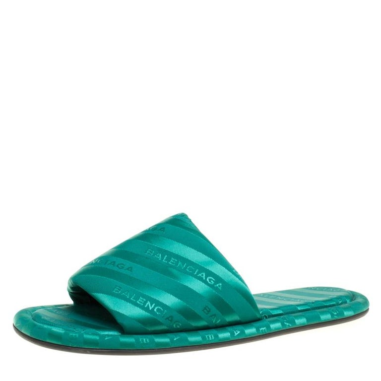 a05b227e2 Balenciaga Emerald Green Jacquard Hotel Flat Slides Size 39 at 1stdibs