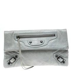 Balenciaga Grey Leather RH Foldover Clutch