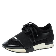 Balenciaga Monochrome Leather And Mesh Mixed Media Lace Up Sneakers Size 37