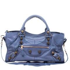 Balenciaga Light Blue Leather GGH Part Time Top Handle Bag