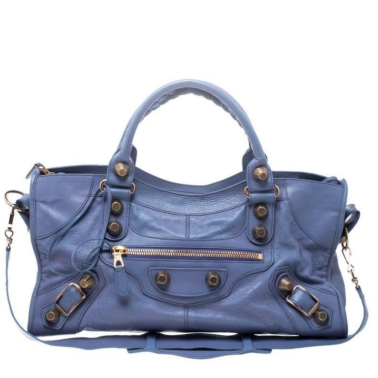 c5dfeda3ff158 Balenciaga Leichte Blaue Leder GGH Teilzeit Handtasche mit Griff bei ...