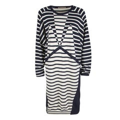 Balenciaga Navy Blue and Cream Striped Silk Cashmere Sweater Dress M