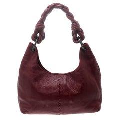 Bottega Veneta Red Leather Braided Hobo