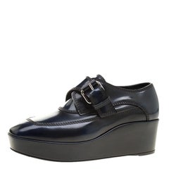 Balenciaga Oxford Blue Leather Monk Strap Platform Loafers Size 36
