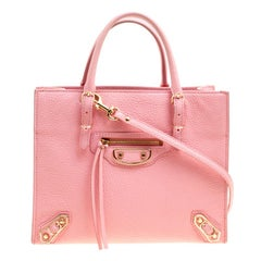 Balenciaga Pink Leather Mini Metallic Papier A4 Top Handle Bag