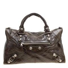 Balenciaga Vert Fonce Leather GH Work Tote