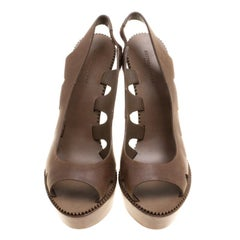 Bottega Veneta Brown Leather Peep Toe Platform Slingback Sandals Size 38.5