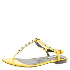Balenciaga Yellow Leather Arena Studded Thong Sandals Size 38