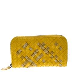 Bottega Veneta Yellow Intrecciato Nappa Leather Zip Wallet
