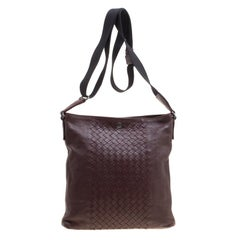 Bottega Veneta Burgundy Intrecciato Leather Crossbody Bag