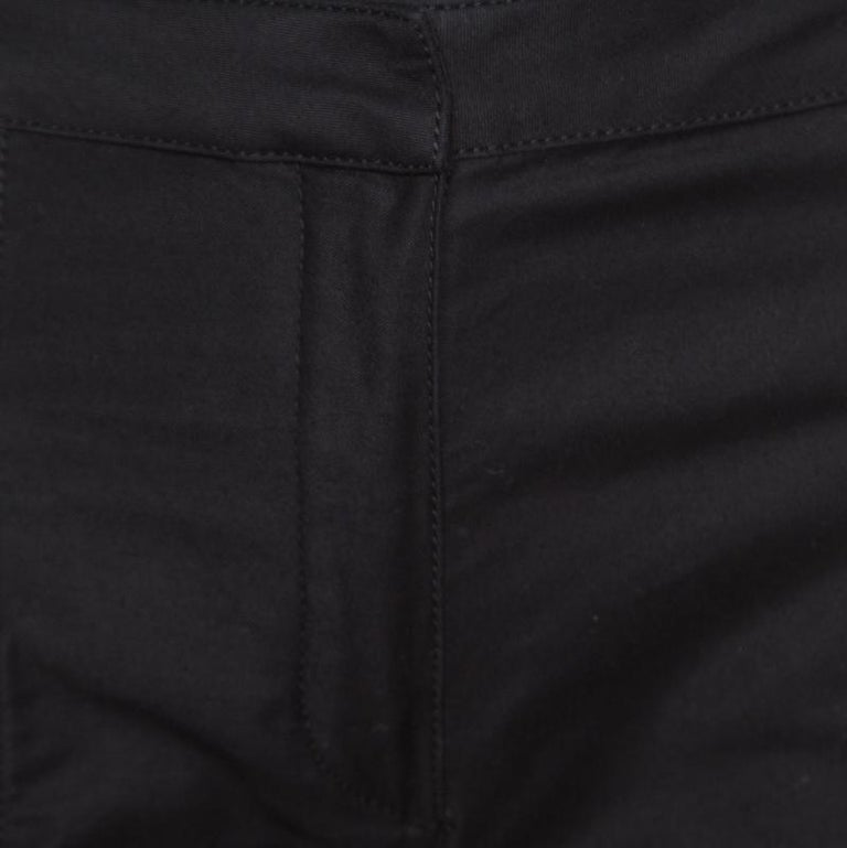 f19c6146959fc5 Balmain Black Cotton Ankle Zip Detail High Waisted Pants S In Good  Condition For Sale In