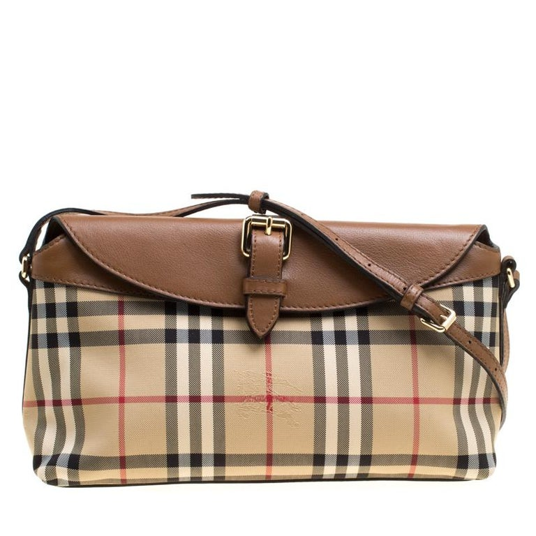 1c0d1900a2e Burberry Beige/Brown Haymarket Check Canvas and Leather Crossbody Bag For  Sale