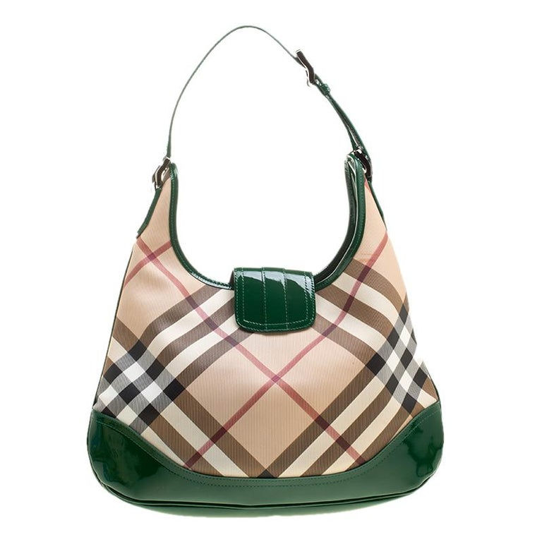 cf5ce1a96f Brown Burberry Beige/Green Nova Check PVC and Patent Leather Brooke Hobo  For Sale