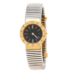 Bvlgari Black 18K Yellow Gold and Stainless Steel Tubogas BB26GSCD Women's Wrist