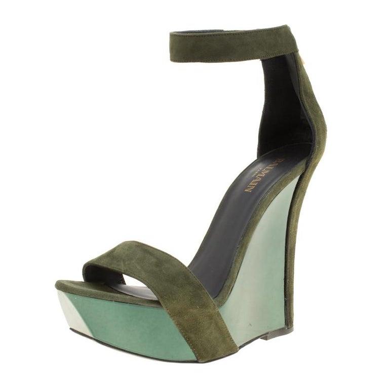 71f0b96d334d Balmain Green Suede Samara Ankle Straps Wedge Sandals Size 37 at 1stdibs