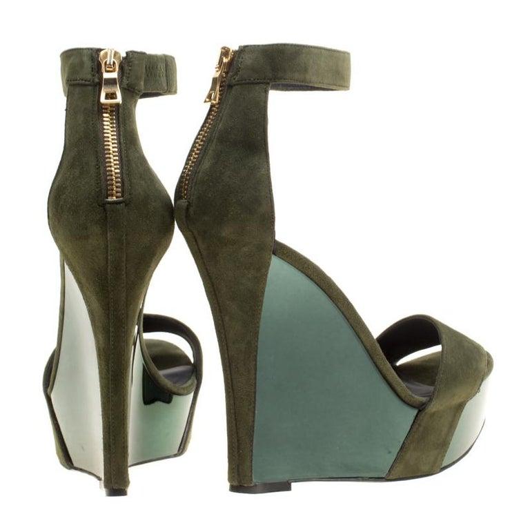 182884325f24 Women s Balmain Green Suede Samara Ankle Straps Wedge Sandals Size 37 For  Sale