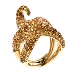 Boucheron Octopussy Pave Set Sapphire & 18k Yellow Gold Cocktail Ring Size 54