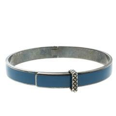 Veneta Intrecciato Blue Enamel Oxidized Silver Narrow Bracelet M