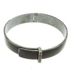 Veneta Intrecciato Brown Enamel Oxidized Silver Bracelet M