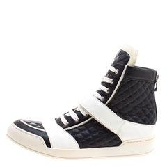 Monochrome Quilted Leather High Top Sneakers Size 45