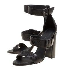 Bottega Veneta Black Leather Embroidery Stitch Detail Block Heel Ankle Strap San