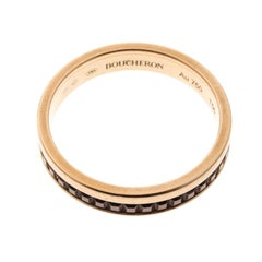 Quatre Classique Brown PVD & 18k Rose Gold Band Ring Size 56