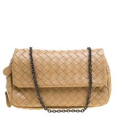 Bottega Veneta Brown Intrecciato Leather Chain Clutch