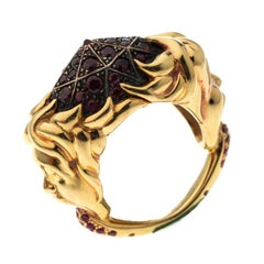 Ruby Carved Face 18k Yellow Gold Dome Cocktail Ring Size 52.5