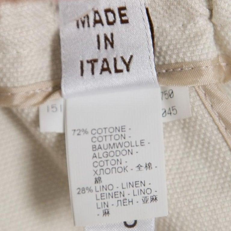 Women's  Cucinelli Beige Linen Cotton Fringed Side Seam Detail Shorts M For Sale