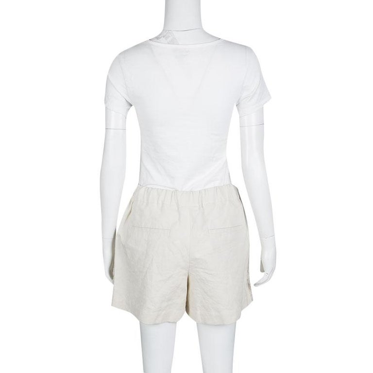 Cucinelli Beige Linen Cotton Fringed Side Seam Detail Shorts M In New Condition For Sale In Dubai, AE